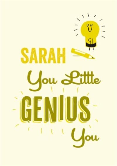 You Little Genius You Lightbulb Personalised Congratulations You Passed Card
