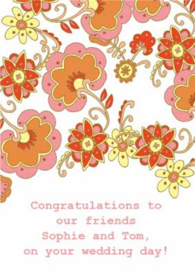 Illustrated Floral Patterned Congratulations Wedding Card