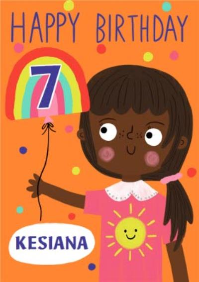 Yay Today Illustrated Happy 7th Birthday Card