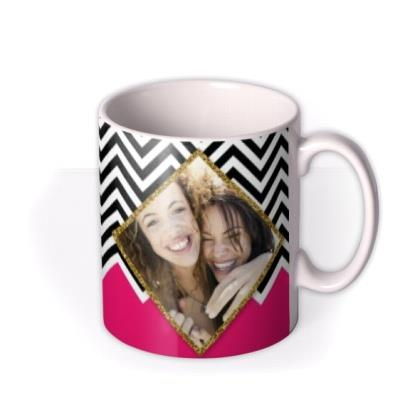 Black & White and Hot Pink Photo Upload Mug
