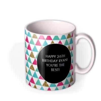 Happy Birthday Triangles Photo Upload Mug