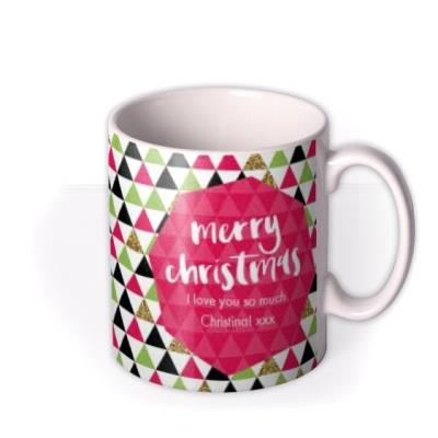 Merry Christmas Triangles Photo Upload Mug