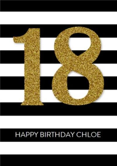 Personalised 18th Birthday Card - 18 Stripe Card
