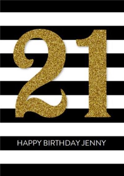 21st Stripe Birthday Card - Gold 21st