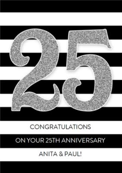 Black And White Striped Personalised Happy 25th Anniversary Card