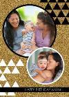 Glitter Circular Frames Personalised Photo Upload Happy Birthday Card