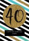 Diagonal Stripes Personalised Happy 40th Birthday Card