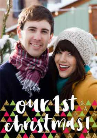 Geometric Shapes Bottom Border Personalised Photo Upload Christmas Card For Couples