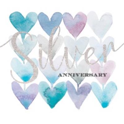 Silver Anniversary Watercolur Hearts Card