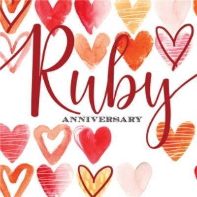 Ruby Anniversary Watercolur Hearts Card