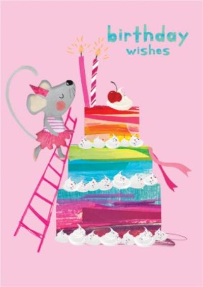 Mouse and Cake Illustration Birthday Wishes Card