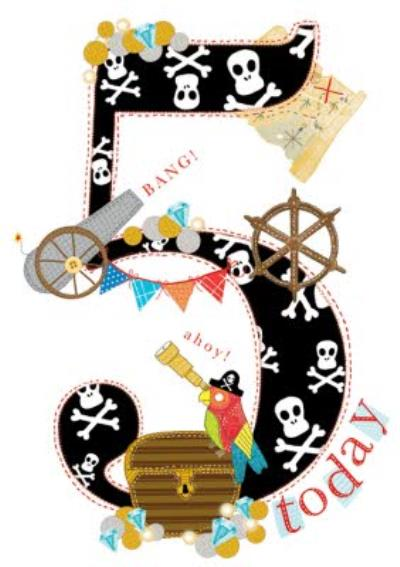 5 Today Pirate Birthday Card