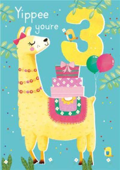 Yippee You're 3 Llama Birthday Card