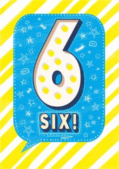 Yellow Stripes And Star Pattern 6th Birthday Card