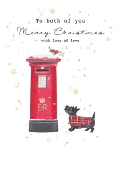 Traditional Postbox And Dog Christmas Card