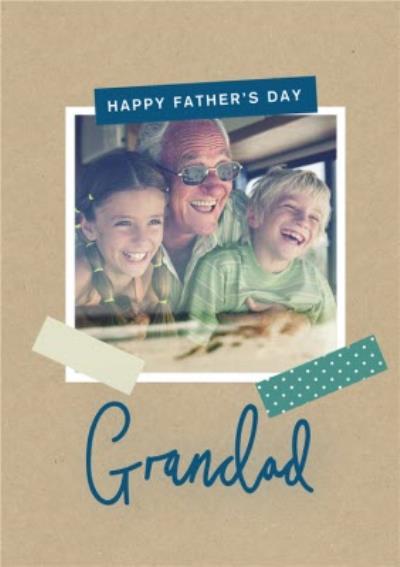 Modern Scrapbook Grandad Photo Upload Father's Day Card