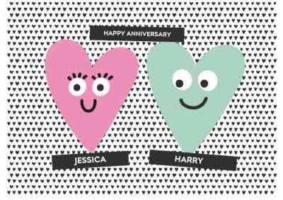 Anniversary Card - Love Hearts - Happy Anniversary