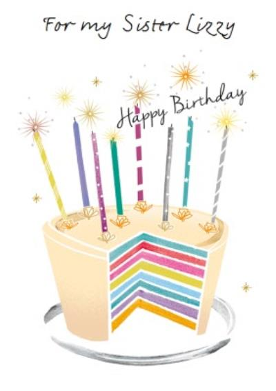 Birthday Cake Design For My Sister Happy Birthday Card