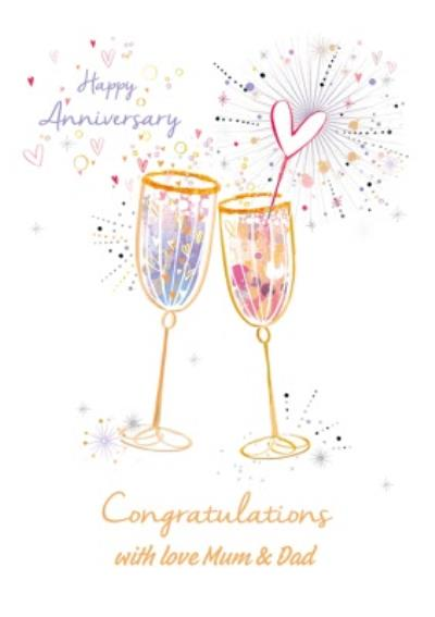 Happy Anniversary Congratulations Champagne Glasses Sparkle Design Card From Mum And Dad