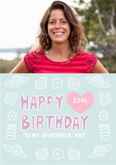 Fun Typographic Wife Photo Upload Birthday Card