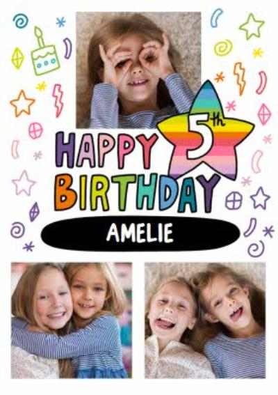 Angela Chick Bright Personalised Photo Upload 5th Birthday Card