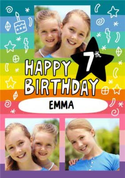 Angela Chick Bright Personalised Photo Upload 7th Birthday Card