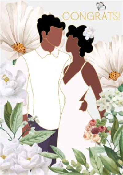 Anoela Floral Couple Illustration Congrats Card