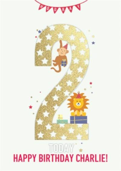 Hooray Two Today Kids Animal Birthday Card