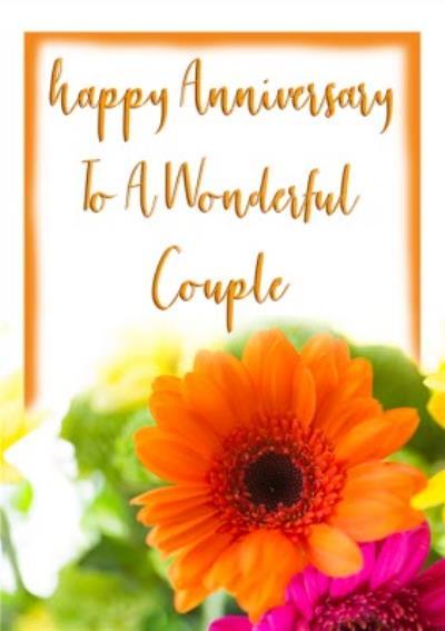 Photographic Orange And Pink Flower Anniversary Card