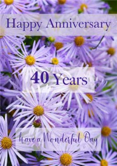 Photographic Bed Of Purple Flowers Personalise Year Anniversary Card