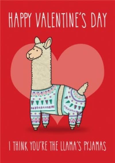Llama's Pyjamas Funny Cute Valentine's Card