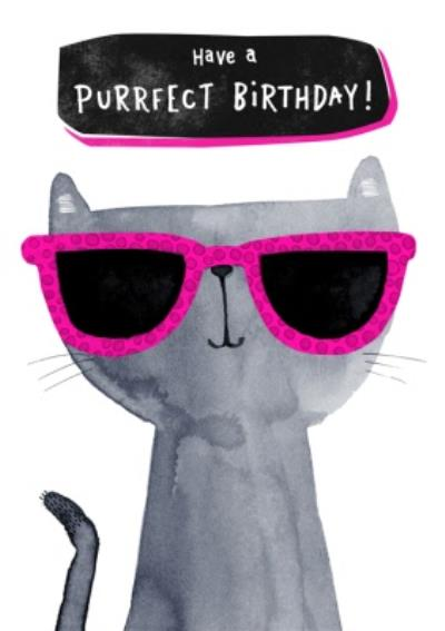 Cute Have A Purrfect Birthday Cat Card