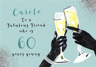 FashionFashion Illustration Champagne prosecco Birthday Card To a Fabulous Friend