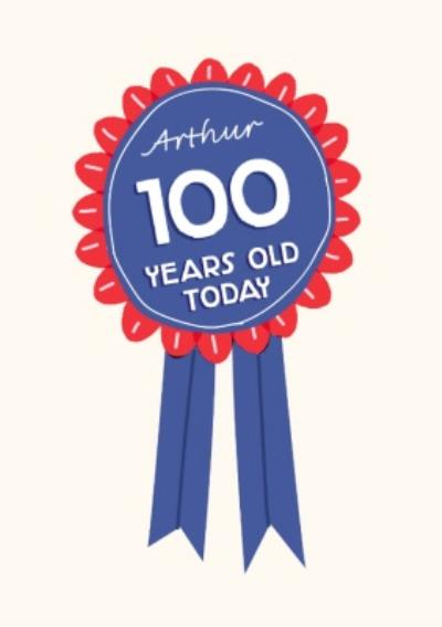 World's Best Human Rosette Personalised 100th Birthday Card