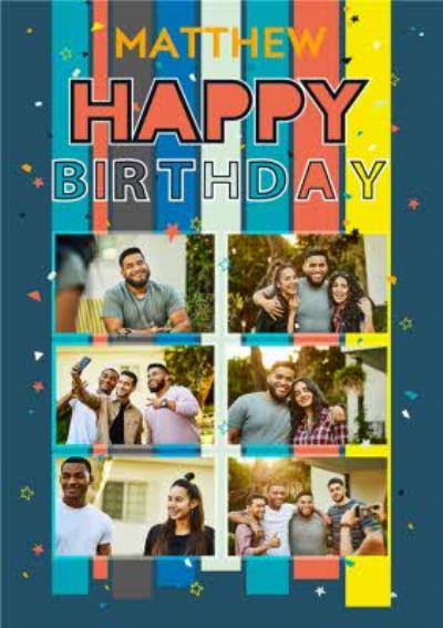 Axel Bright Graphic Stripes Multi Photo Upload Birthday Card