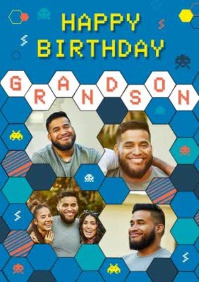 Axel Bright Graphic Space Invaders Gaming Happy Birthday Grandson Multi Photo Upload Card