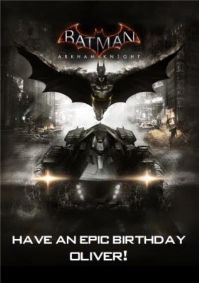 DC Batman Arkham Knight Batmobile Epic Birthday card