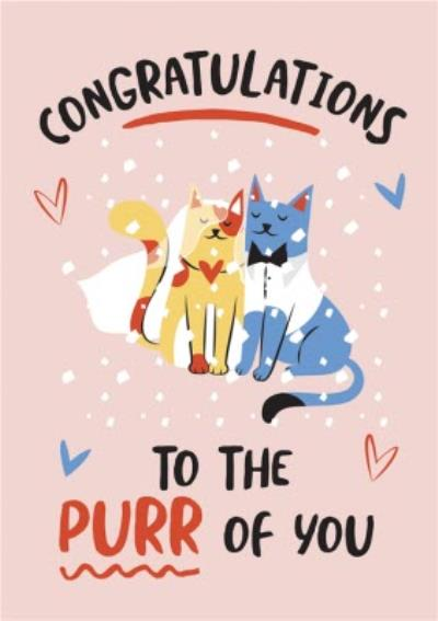 Funny Illustration Congrats To The Purr Of You Newly Weds Card