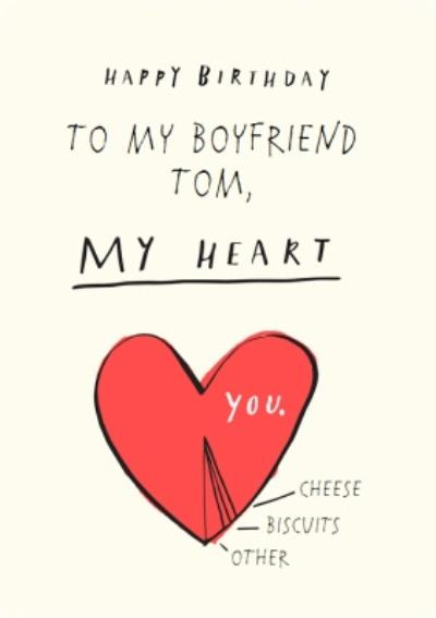 To My Boyfriend Youre My Heart Personalised Birthday Card