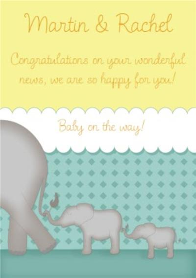 Elephants In A Line Personalised You're Expecting Card