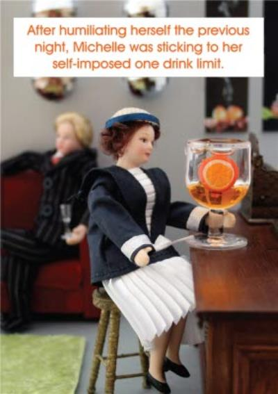 Funny One Drink Limit Large Glass Wine Card