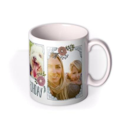 Pretty Flowers And Bees Multi-Photo Birthday Mug
