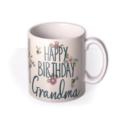 Pretty Flowers and Bees Photo Upload Birthday Mug for Grandma