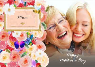Mother's Day Card - Photo Upload Card - Floral