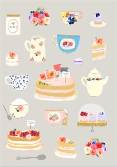 Bright Flowers, Tea, And Cakes Illustration Card