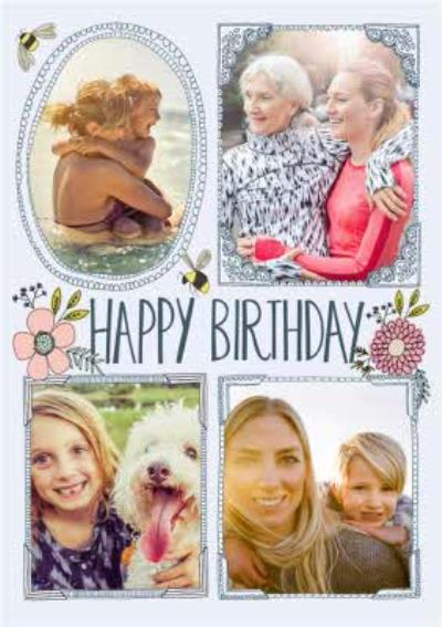 Flowers And Bumblebees Happy Birthday Multi-Photo Card
