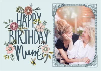 Flowers And Bumblebee Happy Birthday Mum Photo Card