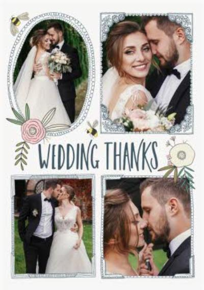 Floral photo upload wedding thanks cards - Traditional Flowers And Bumblebee