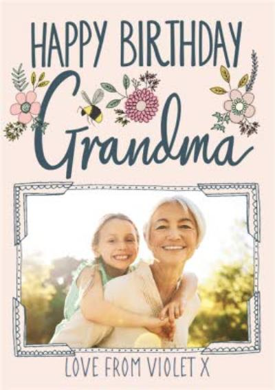 Floral Photo Upload Birthday Card For Grandma