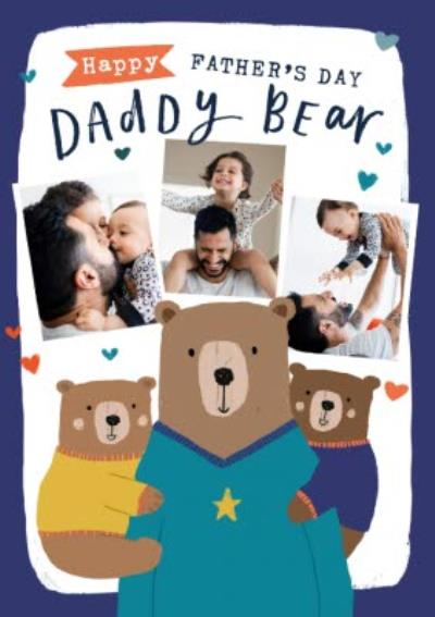 Happy Father's Day Daddy Bear Photo Upload Card